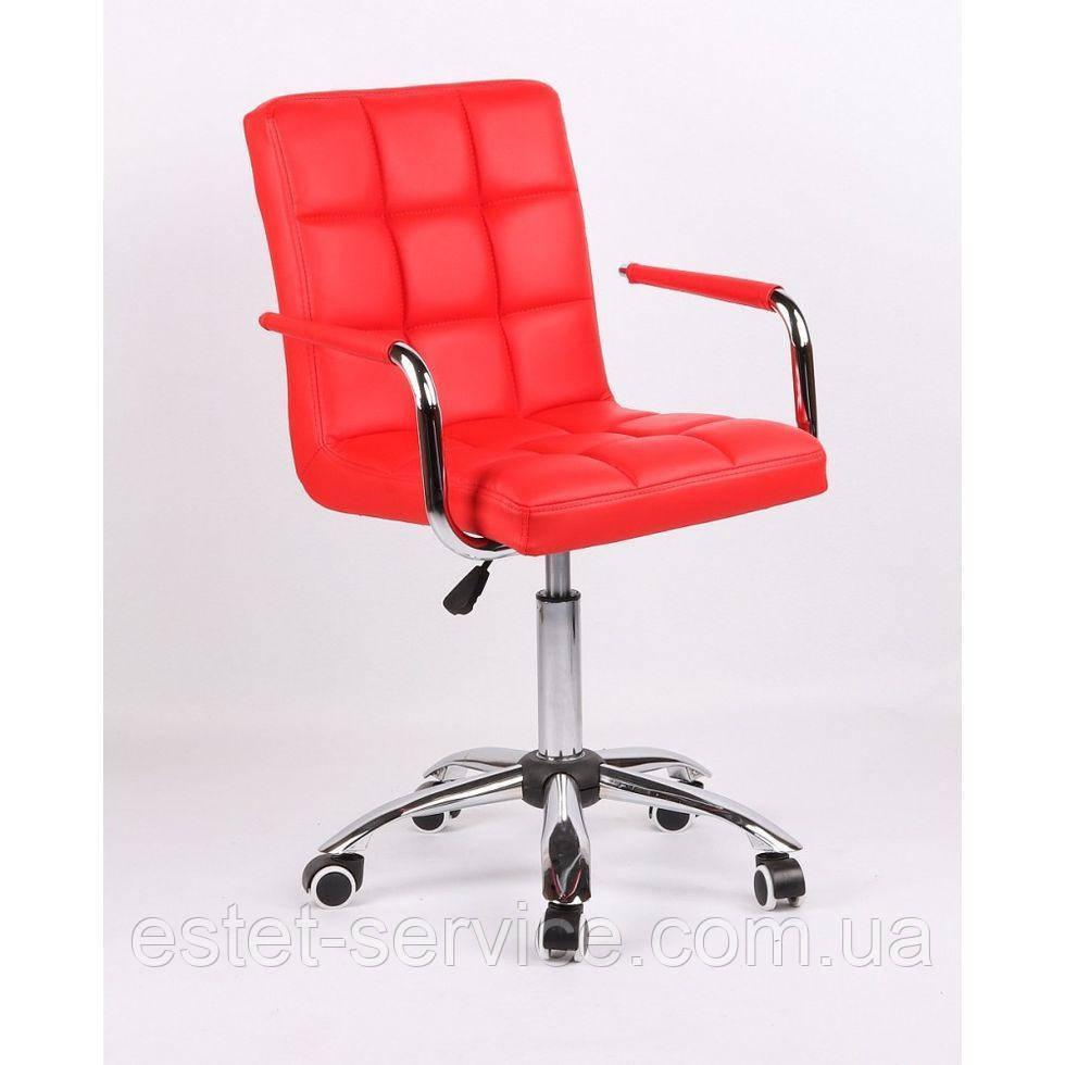 Кресло мастера с подлокотниками HC1015KP на колесах в ЦВЕТАХ кожзам