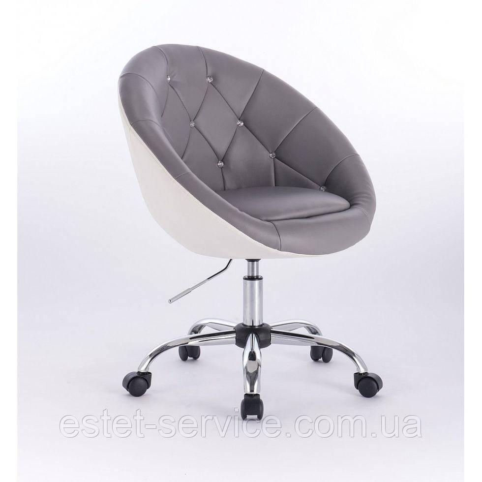 Кресло косметолога HC8516K на колесах в ДВУХ ЦВЕТАХ кожзам стразы