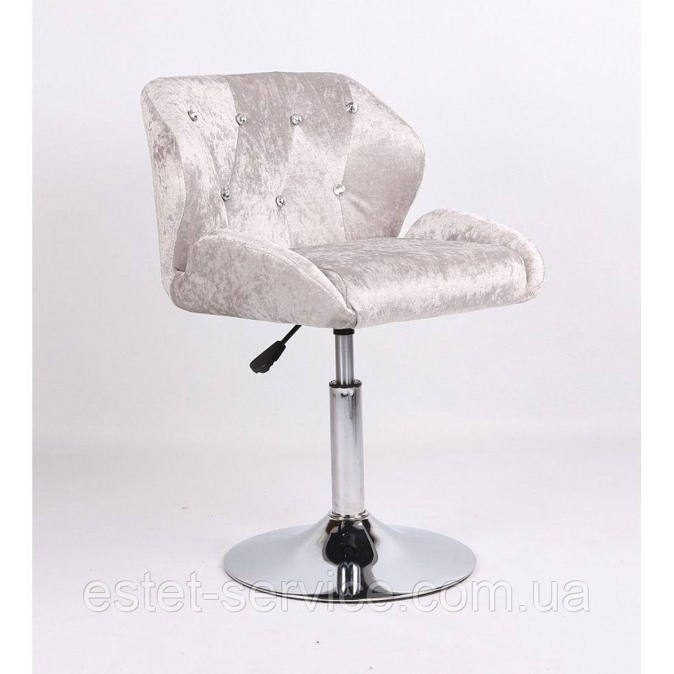 Кресло косметическое HC949N серебристое велюр