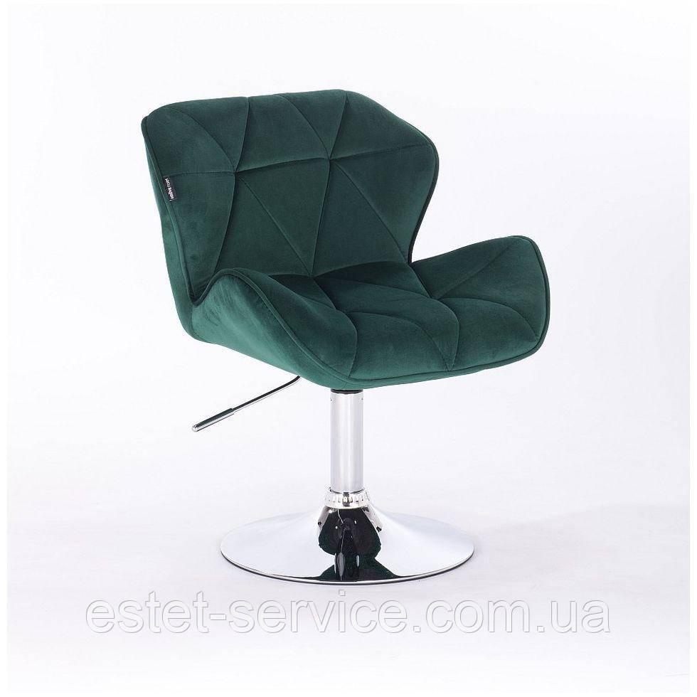 Кресло косметическое HR111N зеленый бутылочный велюр