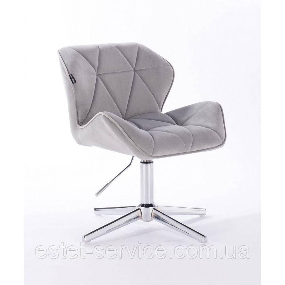 Парикмахерское  кресло HROVE FORM HR111CROSS стальной велюр