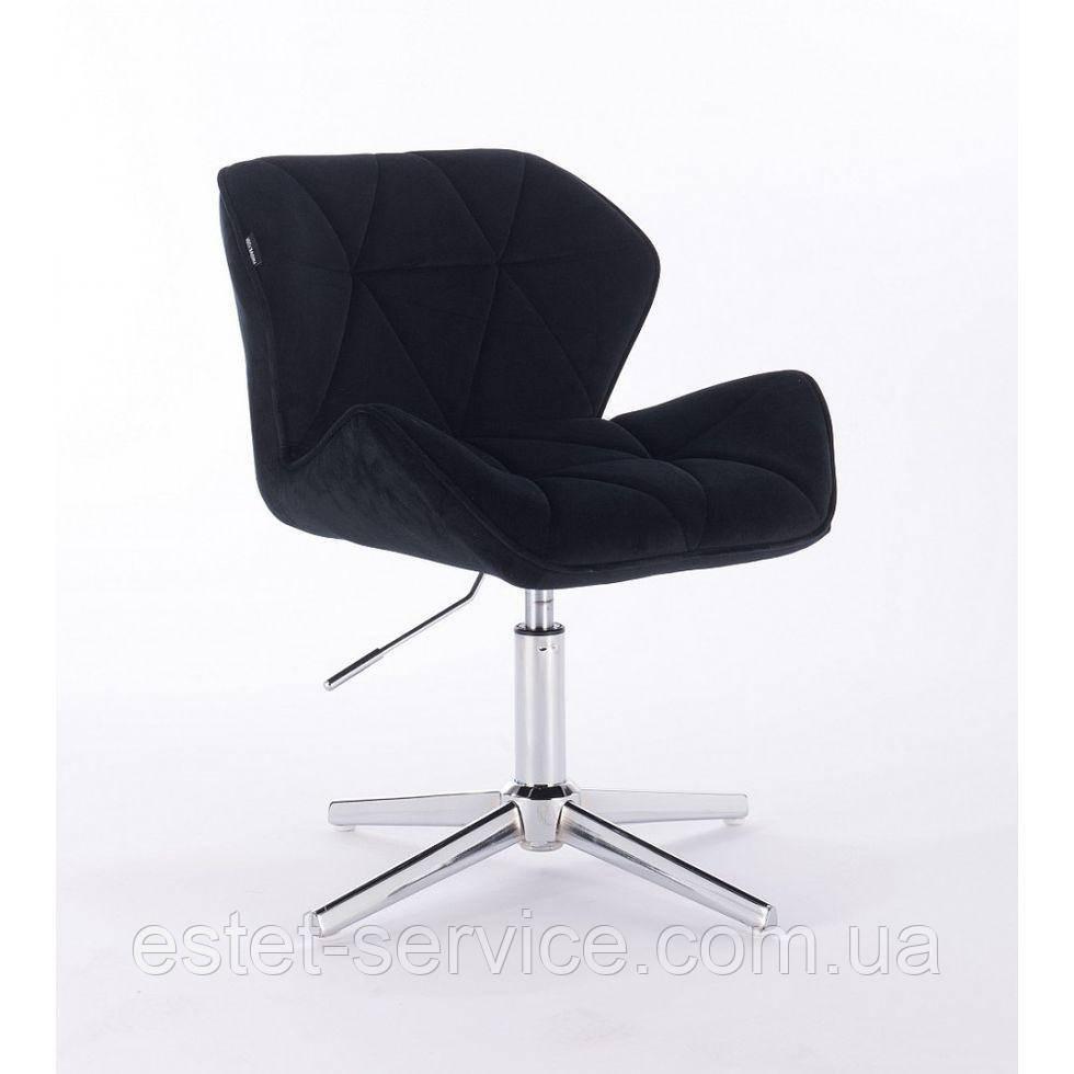 Парикмахерское  кресло HROVE FORM HR111CROSS черный велюр