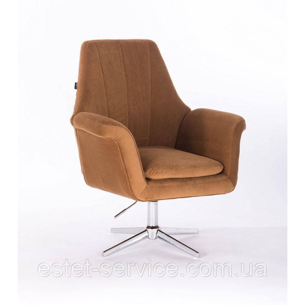Парикмахерское  кресло HROVE FORM HR660CROSS  медовый велюр