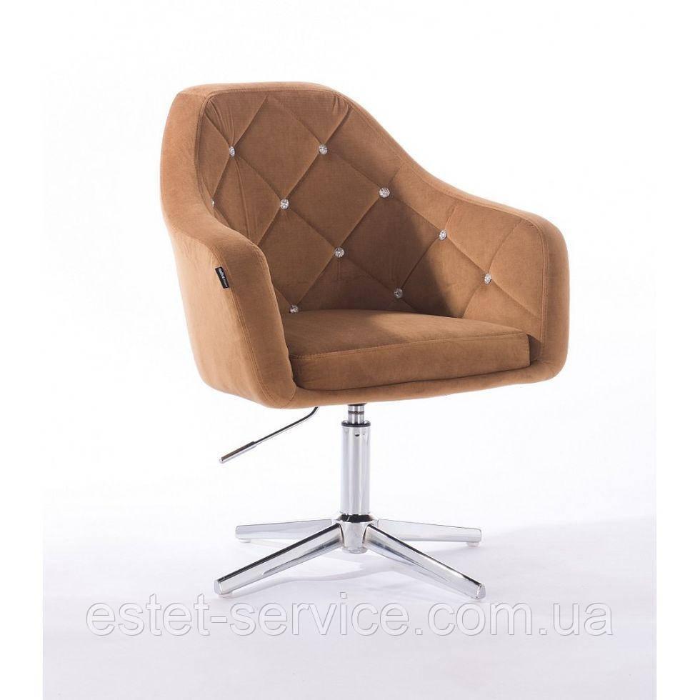 Парикмахерское  кресло HROVE FORM HR830CROSS медовый велюр