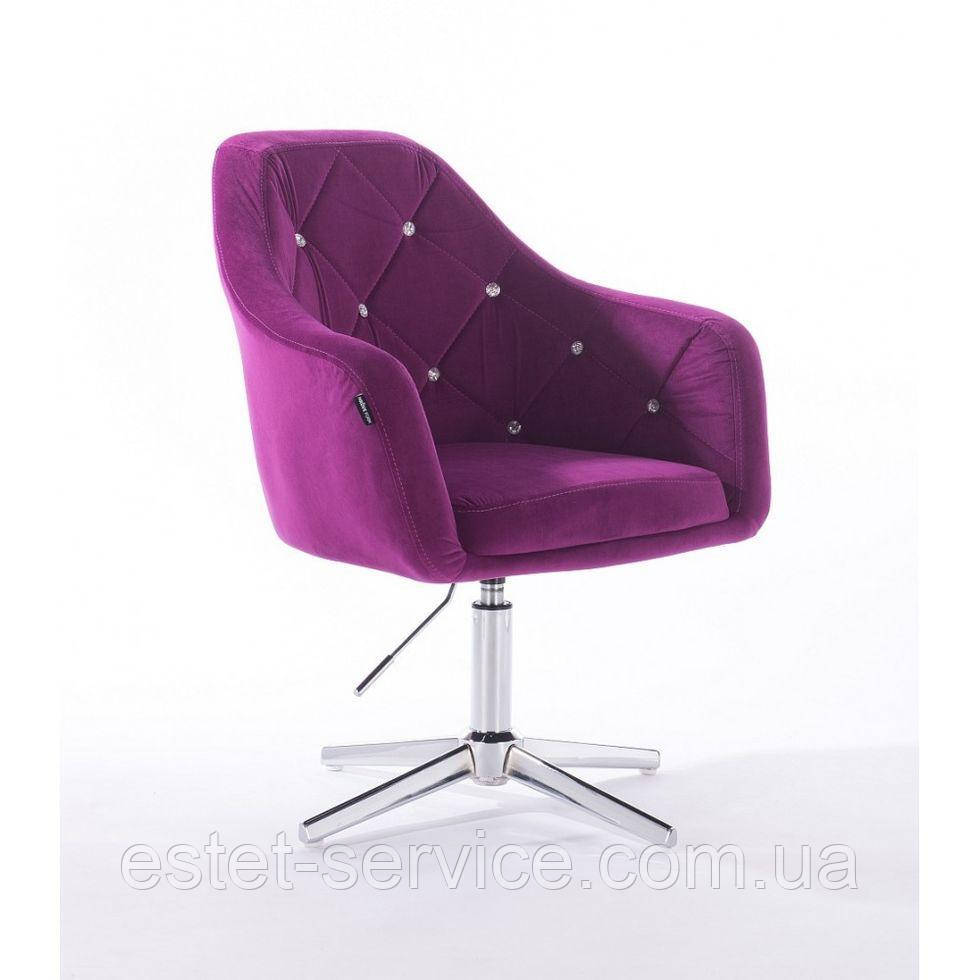 Кресло клиента HROVE FORM HR830CROSS на хром стопках в ЦВЕТАХ велюр