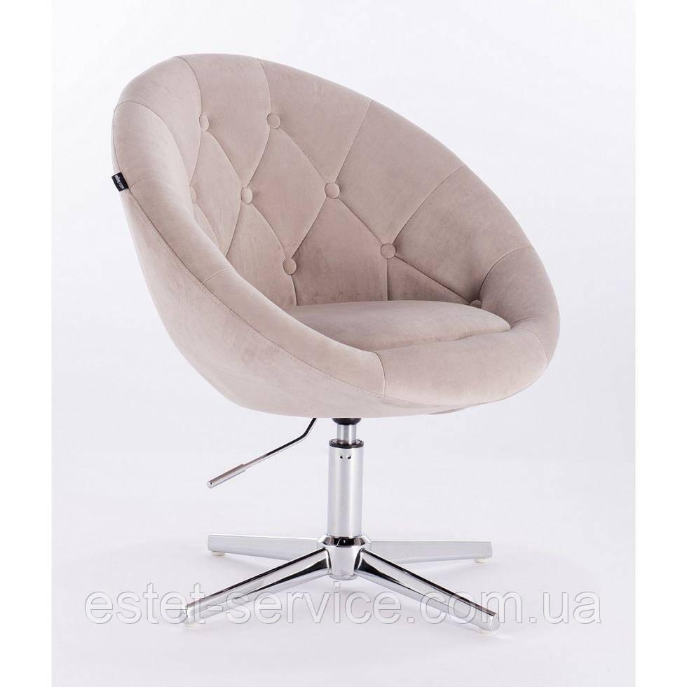 Кресло в парикмахерскую HROVE FORM HR8516 на хром стопках в ЦВЕТАХ велюр с пуговицами
