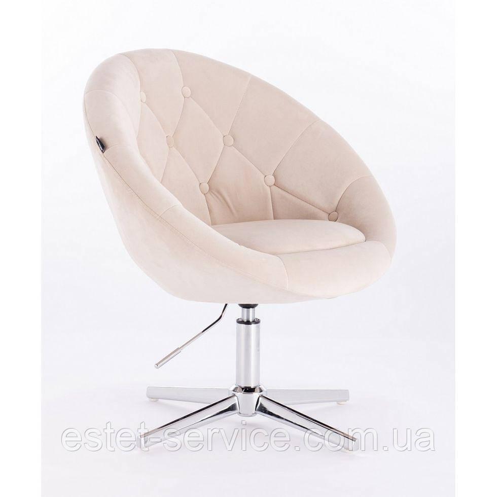 Парикмахерское  кресло HROVE FORM HR8516 кремовое велюр