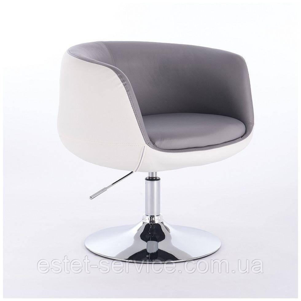 Парикмахерское кресло HC333N серо-белое экокожа