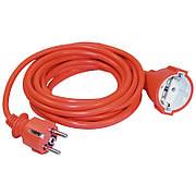 Шнур УШ-01РВ оранжевый с круглой вилкой и розеткой 2P+PE 3x1мм²/20 метров, IEK