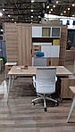 Рабочее место+USB Delta DL-102 (1590х1600х750мм) Блэквуд Ячменный/Каркас белый, фото 6