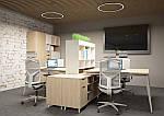Рабочее место+USB Delta DL-102 (1590х1600х750мм) Блэквуд Ячменный/Каркас белый, фото 7