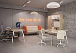 Рабочее место+USB Delta DL-102 (1590х1600х750мм) Блэквуд Ячменный/Каркас белый, фото 8