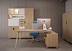 Рабочее место+USB Delta DL-102 (1590х1600х750мм) Блэквуд Ячменный/Каркас белый, фото 9