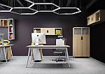 Рабочее место+USB Delta DL-102 (1590х1600х750мм) Блэквуд Ячменный/Каркас белый, фото 10