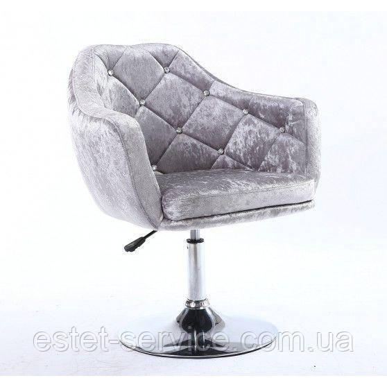 Парикмахерское кресло HC830 серое велюр
