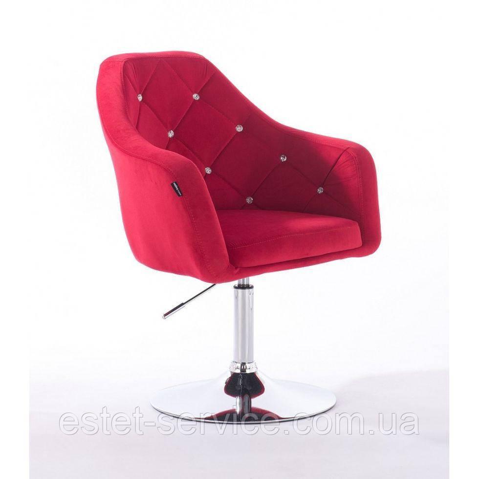 Парикмахерское кресло HROVE FORM HR830 красный велюр