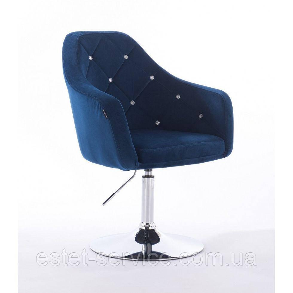 Парикмахерское кресло HROVE FORM HR830 синий велюр