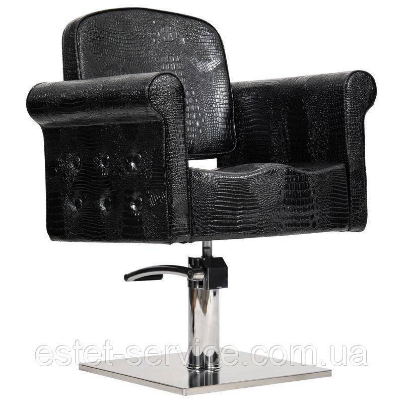 Парикмахерское кресло Miami черный крокодил