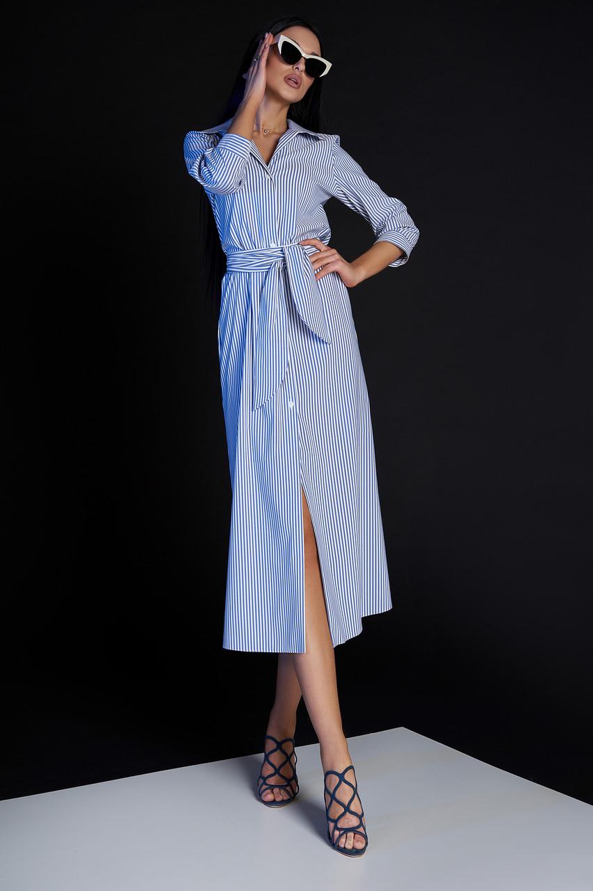 fb9753ba1f4404a Женское стильное платье-рубашка, в синюю полоску, молодёжное, повседневное,  офисное,