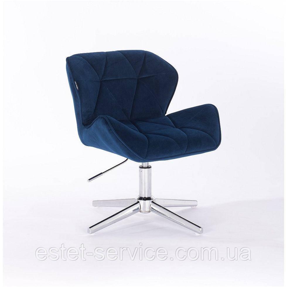 Парикмахерское  кресло HROVE FORM HR111CROSS синий велюр