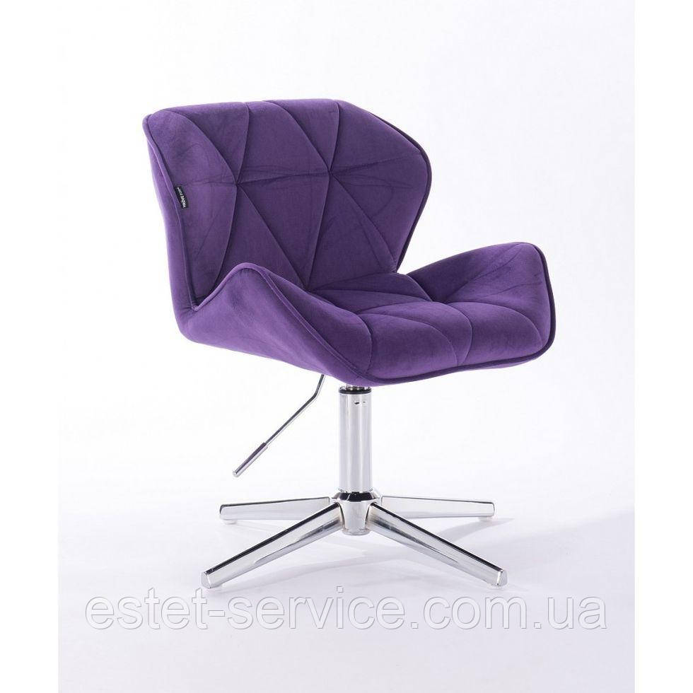 Парикмахерское  кресло HROVE FORM HR111CROSS фиолетовый велюр