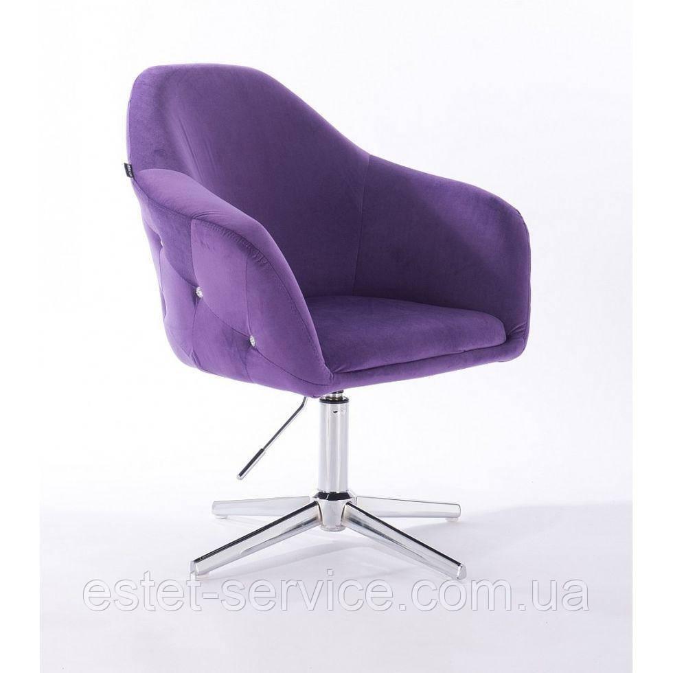 Парикмахерское  кресло HROVE FORM HR547CROSS фиолетовый велюр