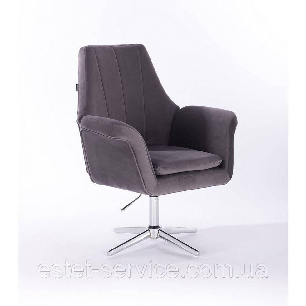 Парикмахерское  кресло HROVE FORM HR660CROSS  графитовый велюр