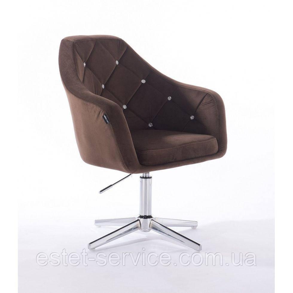 Парикмахерское  кресло HROVE FORM HR830CROSS коричневый велюр