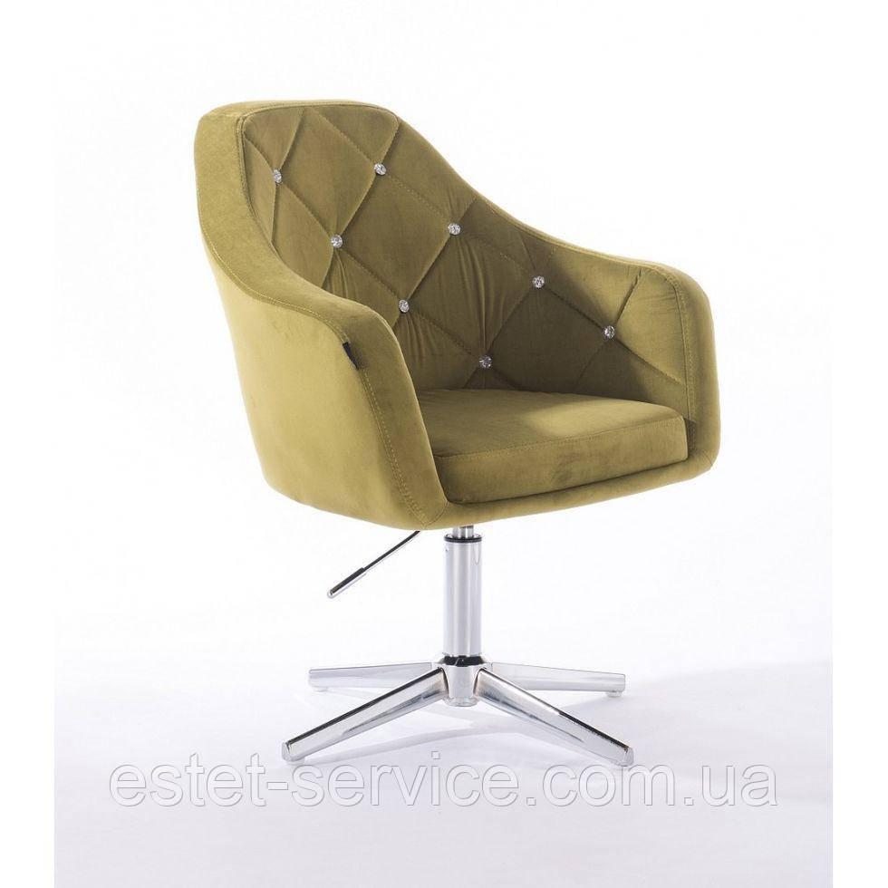 Парикмахерское  кресло HROVE FORM HR830CROSS оливковый велюр