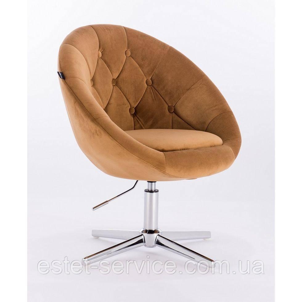 Парикмахерское  кресло HROVE FORM HR8516 медовое велюр