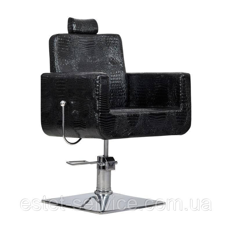 Парикмахерское кресло Bell bis черный крокодил