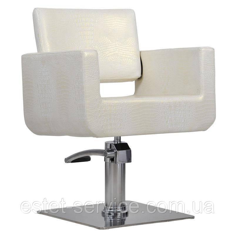 Парикмахерское кресло Bell бежево-светло золотой крокодил