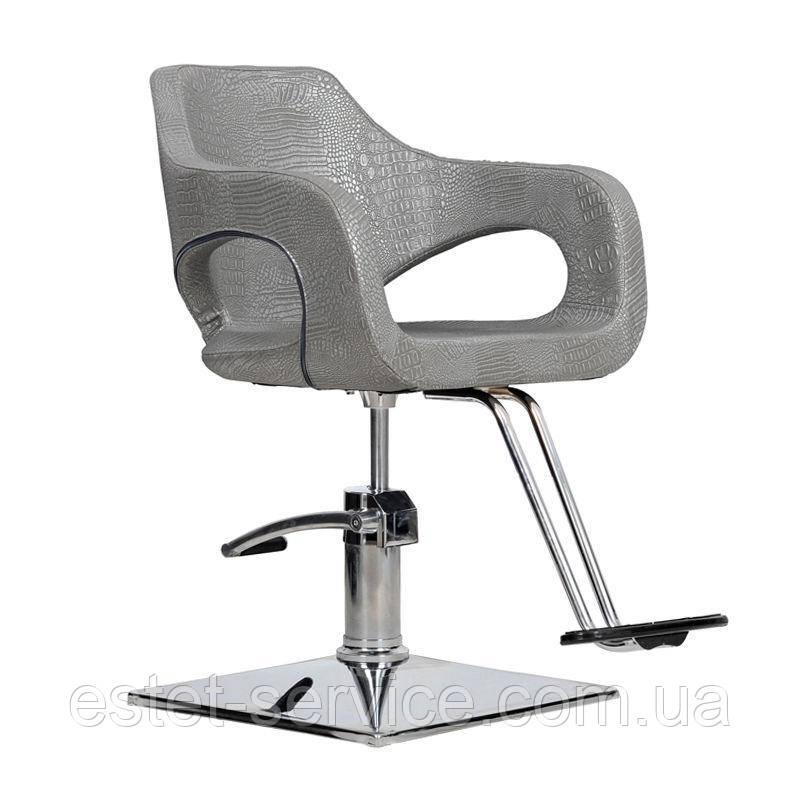 Парикмахерское кресло Bresso графитовый крокодил