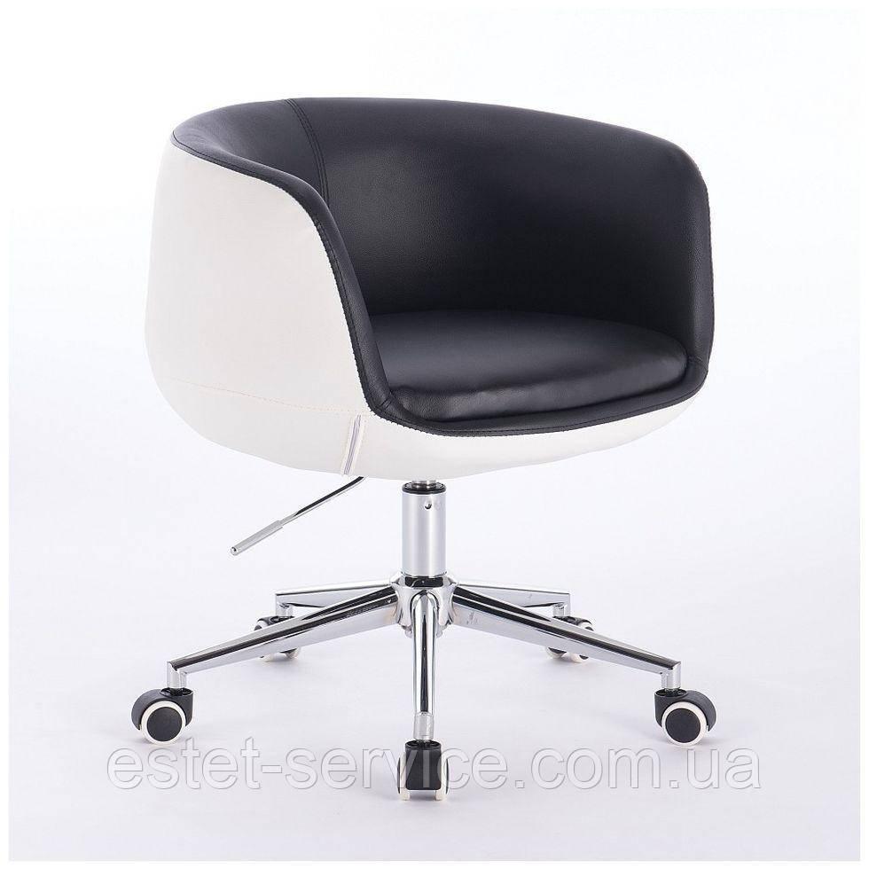 Парикмахерское кресло HC333K черно-белое экокожа