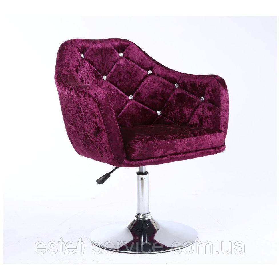 Парикмахерское кресло HC830 фиолетовое велюр