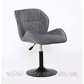 Парикмахерское кресло HROVE FORM HR111, ткань серая, основа черный диск