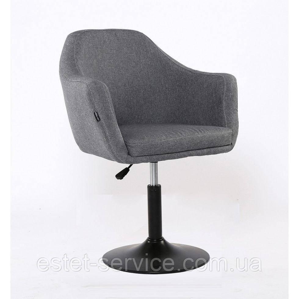 Парикмахерское кресло HROVE FORM HR830 на черном диске, обшивка ТКАНЬ