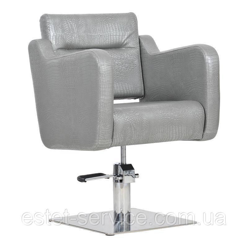 Парикмахерское кресло Lux графитовый крокодил
