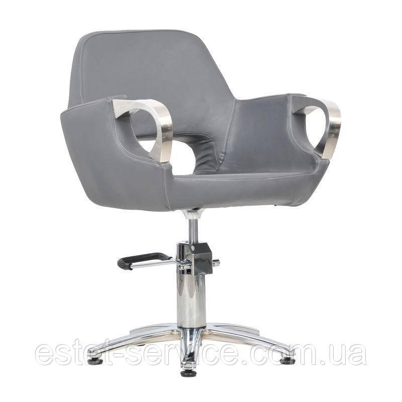 Парикмахерское кресло Mediolan Steel графитовый крокодил