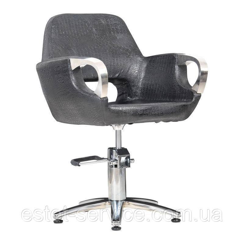 Парикмахерское кресло Mediolan Steel черный крокодил матовое