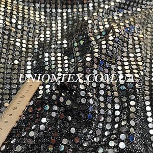 Ткань копейка серебро на черном