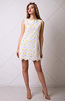 Платье узор ромашка на лето из хлопка белое