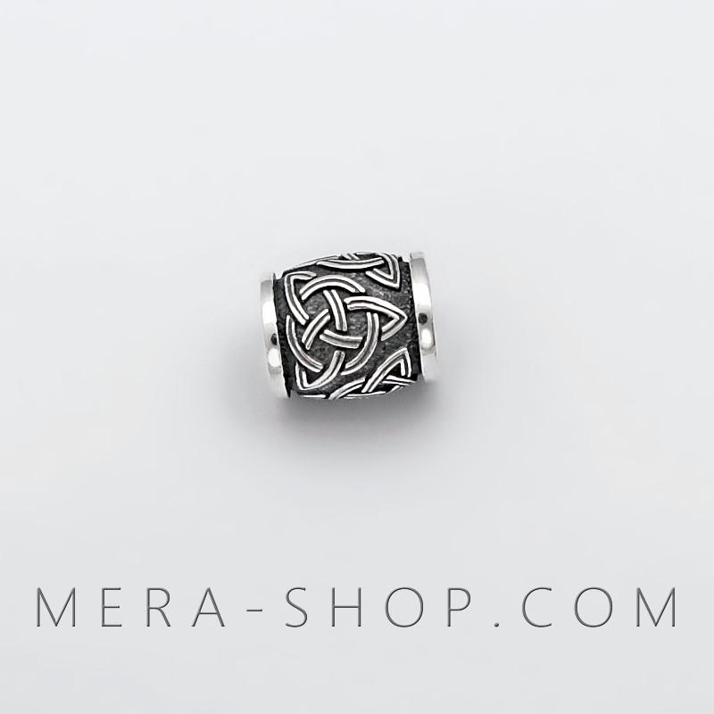 Трикветр бусина шарм из серебра 925 пробы
