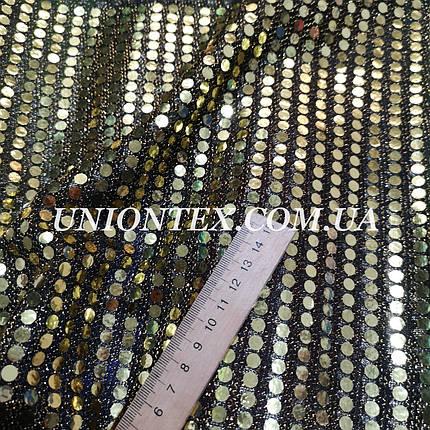 Ткань копейка золото на черном, фото 2