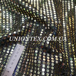 Ткань копейка золото на черном