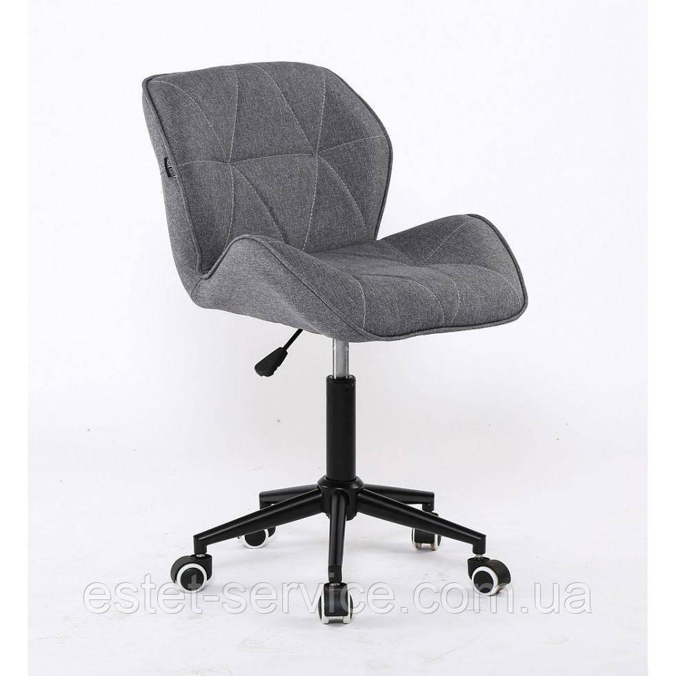 Косметическое кресло HROOVE FORM HR111K на черных колесах, серая ткань