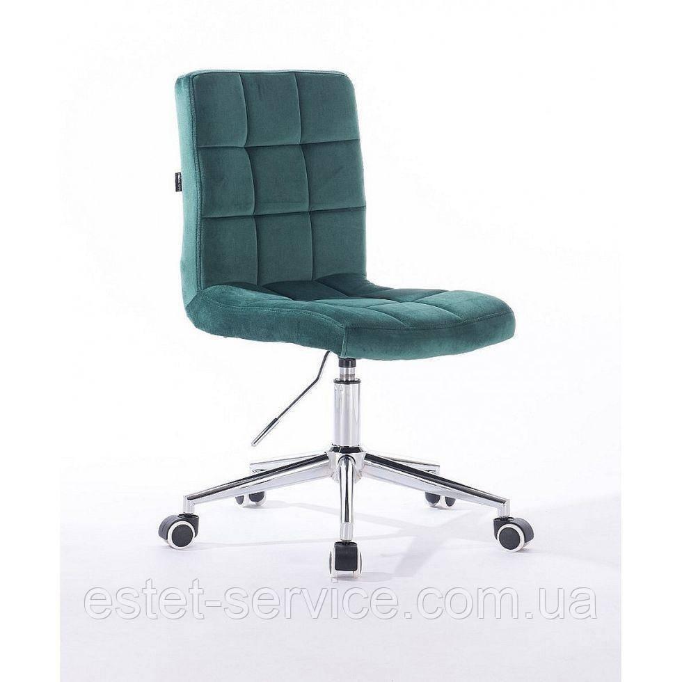 Кресло клиента HROOVE FORM HR7009K на хром колесах в ЦВЕТАХ велюр