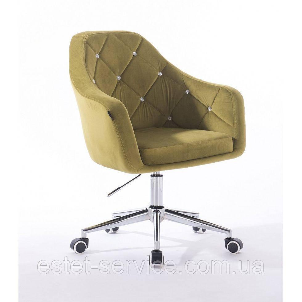 Косметическое кресло HROOVE FORM HR830K оливковый велюр