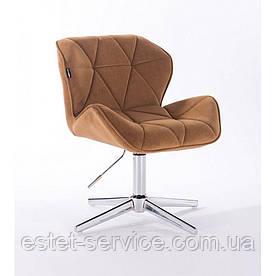 Парикмахерское  кресло HROVE FORM HR111CROSS медовый велюр