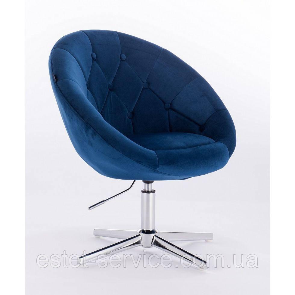 Парикмахерское  кресло HROVE FORM HR8516 синее велюр